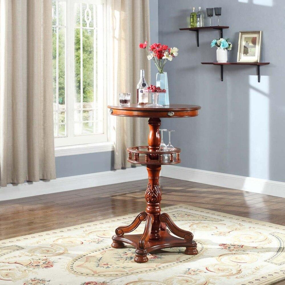 Table haute en bois massif de style rétro européen