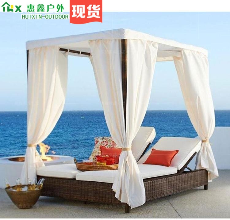 Garden Lounge Bed With Canopy For Alfresco Party / Adjustable Backrest