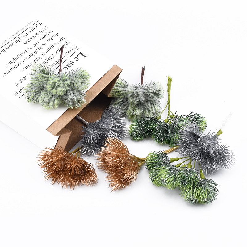 6pcs Pine Leaves Christmas Home Decoration Accessories Decorative Flowers Wreaths Bride Brooch Diy Gifts Box Artificial Plants