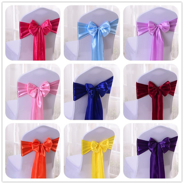 wedfavor 25pcs satin chair bow sashes wedding chair cover ribbon