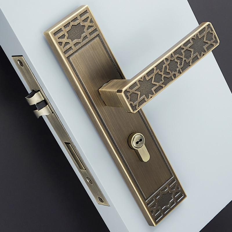 3 Colors/Modern Brass Door Lock With Key Lock Accessories Classical  Interior Doors Square Door Handle Unequal Double Door Lock