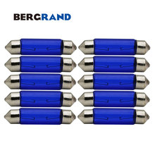10PCS C5W T11 41mm Festoon Signal Lamps Natural Blue Glass SV8.5 12V 5W 5000K Instrument Rear Dome Map Light Interior Light