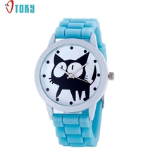 OTOKY Willby Black Cat Watch Silicone Jelly Wrist Watches For Women Girl 161213 Drop Shipping