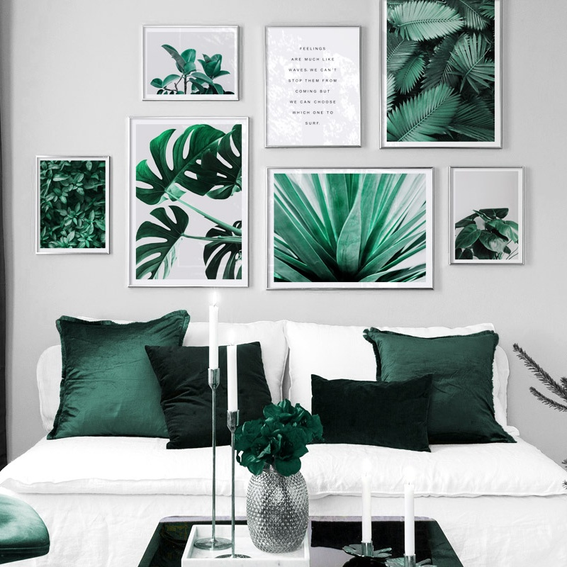 Monstera Leaves Aloe Natural Plant Quotes Wall Art Canvas Painting Nordic Posters And Prints Wall Pictures For Living Room Decor