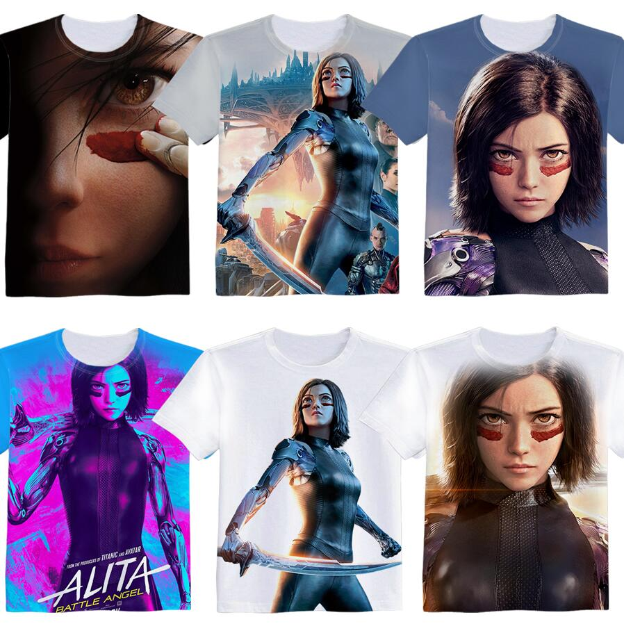 Anime Movie Alita Battle Angel Woman Man Cartoon Lovely Printing Custom Made T-shirt Tees Christmas Gift Fancy Fashion Cool