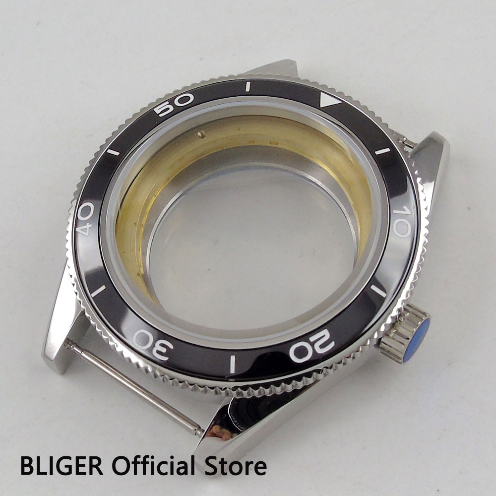 Sapphire Crystal BLIGER 41MM Full Stainless Steel Watch Case Black Ceramic Bezel Fit For ETA 2824 2836 Automatic Movement C79 relojes full stainless steel men s sprot watch black and white face vx42 movement