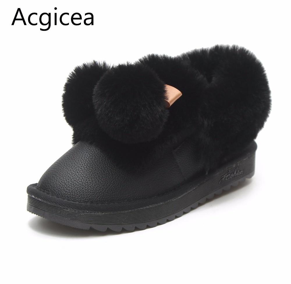 Super Nieve 2018 Cómodo Tobillo Lindo Piel Nuevas negro Invierno Mujeres Las Plano rosado Beige Zapatos Negro De Rosa Tacón Calzado Cálido Mujer Botas Confortable IwrSqZwO