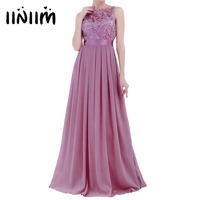 Maxi Dresses Women Ladies Embroidered Chiffon Brides Maid Dress Long Vestido De Festa Prom Gown Formal