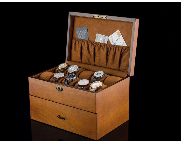 MEI 2 Layers Watch Storage Box Brown Wood Watch Display Case With Lock Men s Quartz