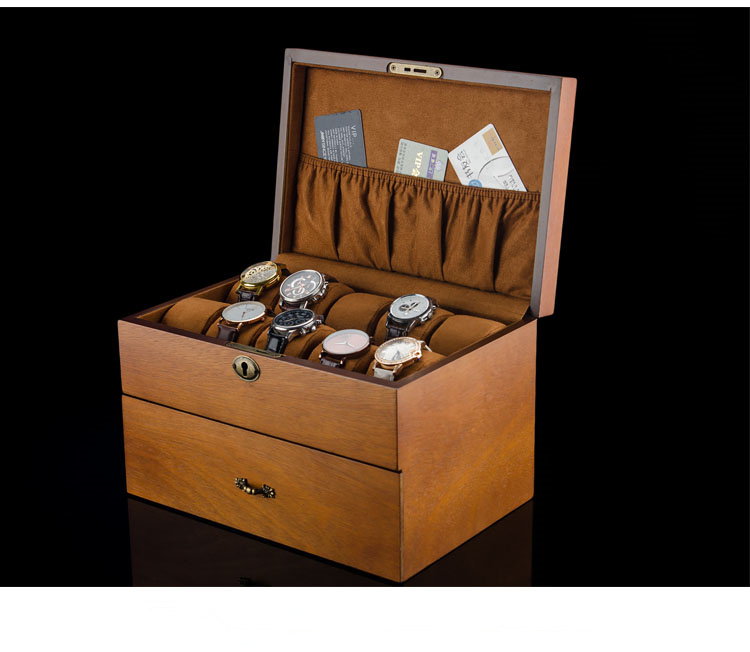 MEI 2 Layers Watch Storage Box Brown Wood Watch Display Case With Lock Men's Quartz Watch Jewelry Gift Boxes W083 freestyle unisex 10019170 tide trainer digital display japanese quartz brown watch