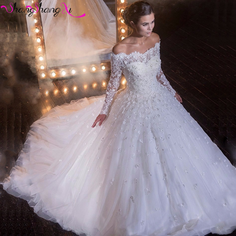 Glamorous 2017 Full Sleeves Ball Gown Wedding Dresses Royal Train Flower Lace Liques White Church Bridal Gowns Custom Hs007 In From