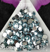 Free shipping SS20 2500pcs Multiple facets Light blue Resin 5mm Flat Back Rhinestones Not hot fixes, you need to use glue