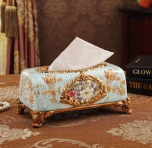 Fashion luxury quality tissue box modern rustic decoration gift resin technology home