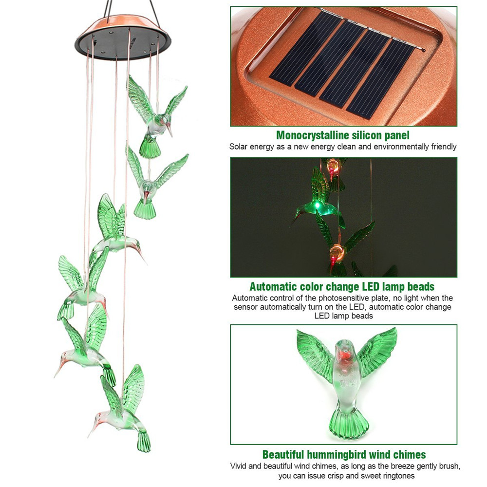 Solar Power Humming Bird Led Light Romantic Windbell 3 Way Switch Wind Chime Lamp Color Changing For Patioyardgarden Decoration In Lamps From Lights