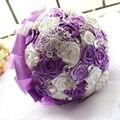 2016 свадебные аксессуары шелковыми лентами букет жемчуг алмаз моделирование розы тай-крашения Luxurous фиолетовый свадебный букет