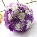 2016 Bridal Accessories Silk Ribbons Bouquet Pearls Diamond Simulation Roses Dyeing Luxurous Purple Wedding Bouquet