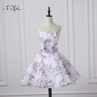 ADLN Short Cocktail Party Dress Strapless A line Floral Print Semi Formal Homecoming Graduation Gown