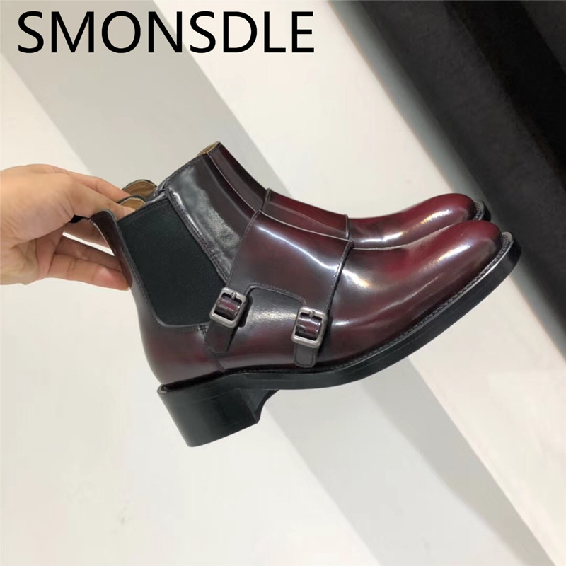 SMONSDLE New Black Genuine Leather Women Ankle Boots Round Toe Buckle Design Slip On Women Autumn Winter Martin Boot Shoes Woman aiweiyi square high heeled shoes woman round toe buckle design autumn winter women ankle boots botas shoes women pumps shoes