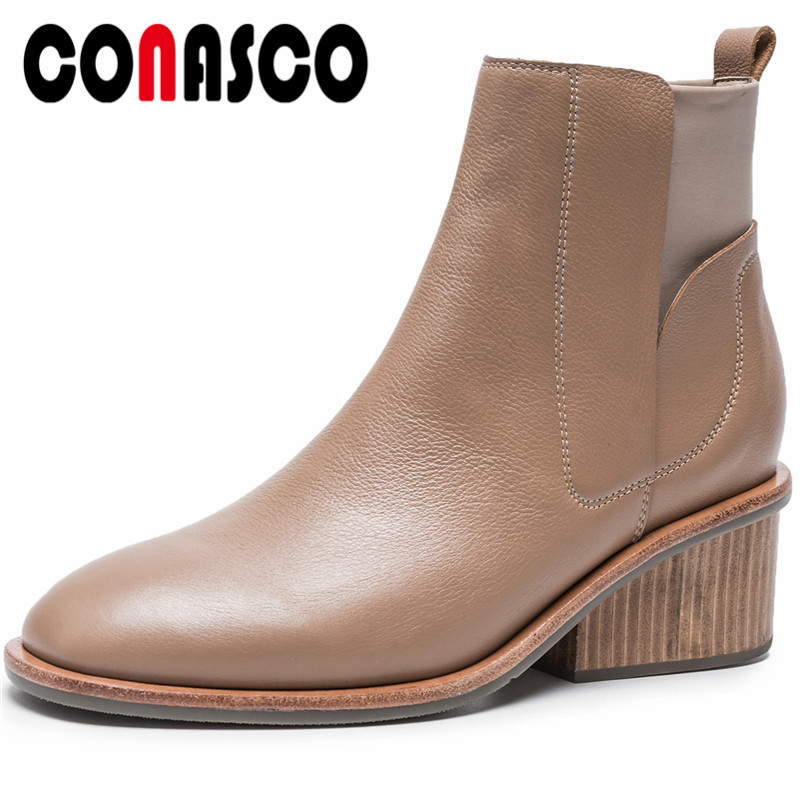 CONASCO Retro Women Genuine Leather High Heels Ankle Boots Autumn Winter Martin Shoes Woman 2019 Basic Boots New PumpsCONASCO Retro Women Genuine Leather High Heels Ankle Boots Autumn Winter Martin Shoes Woman 2019 Basic Boots New Pumps