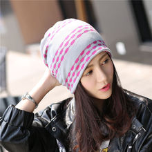 Casual Patchwork Women's Snapback Caps Bonnet Beanies Knitted Hat Cap Soft Skullies Hat Female Warm Windproof Girl Warm Cap 2017