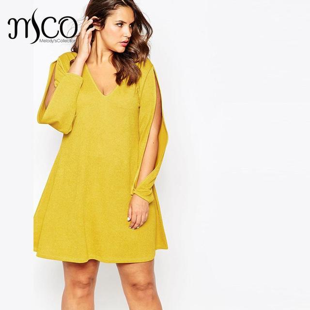 2016 Brand Casual Autumn Slit Long Sleeves Yellow Dress Cute Mini Women  Shift Dresses Sexy V Neck Robe Femme Plus Size 5XL 6XL ca4fb85dc5da