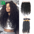 Brazilian Natural Curly 360 Lace Frontal Closure With Bundles Human Hair 360 Full Lace Frontal Closure Virgin Hair Weave Bundles