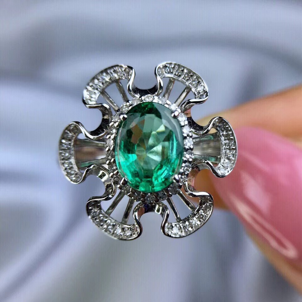 Fine Jewelry Wedding Rings Jewelry Good Gemstone Green Colombian Emerald with Moissanite Engagement Ring Solid 14K White Gold fine jewelry colombian aaa lab created emerald engagement wedding ring in solid 14k white gold support for custom jewelry