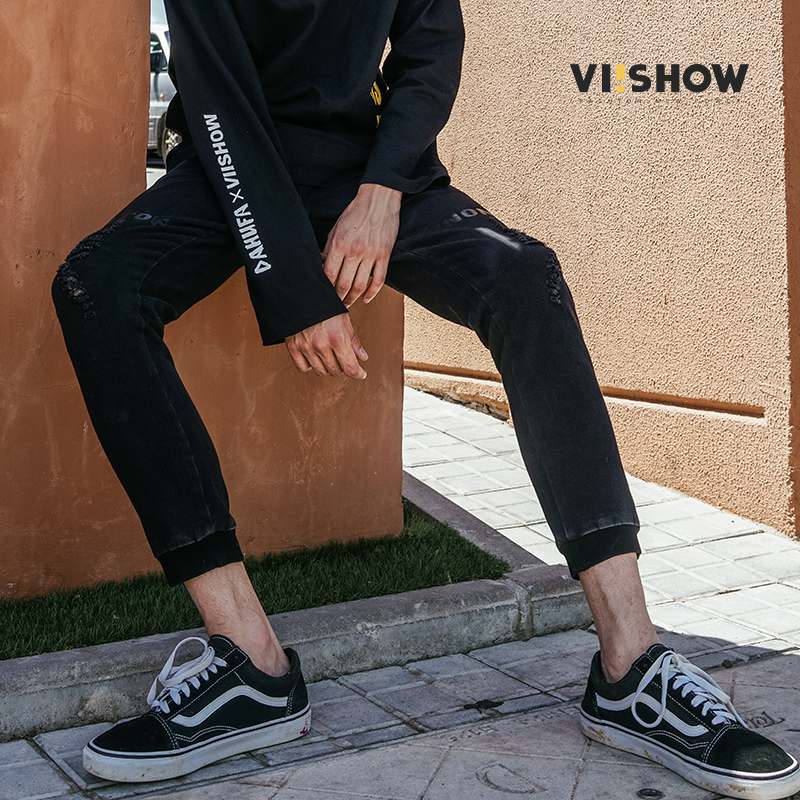VIISHOW New Black Hole Jeans Men Brand Clothing Solid Thin Pencil Denim Pants Male Autumn Top Quality Stretch Trousers NC1875173 pioneer camp new summer thin jeans men brand clothing casual straight denim pants male top quality denim trousers anz703095