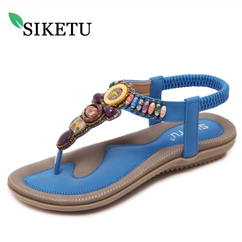 все цены на SIKETU New 2018 Summer Female Fashion Sandals Bohemia Flat with String Beads Large Size Sandals Women Fashion Casual Beach Shoes онлайн