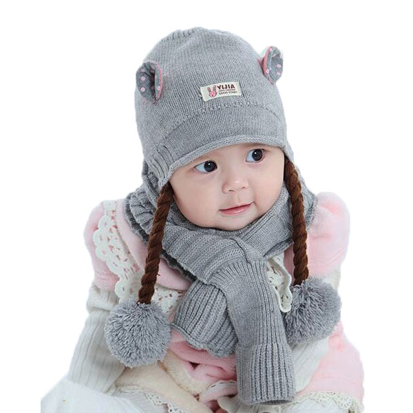 Girls Wigs Beanies Cap 2 Pieces Set Child Knit Bobbles Ear Hat And Thick Cable Scarf Winter Warm Kids Suit Set MZ5164