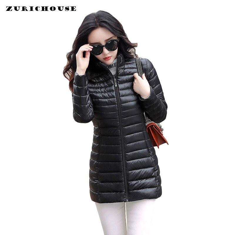 Down Long   Parka   Women 2019 Down Jacket 4XL Plus Ultra Light Cotton Padded Jacket Slim Female Outwear Warm Womens Winter Coats