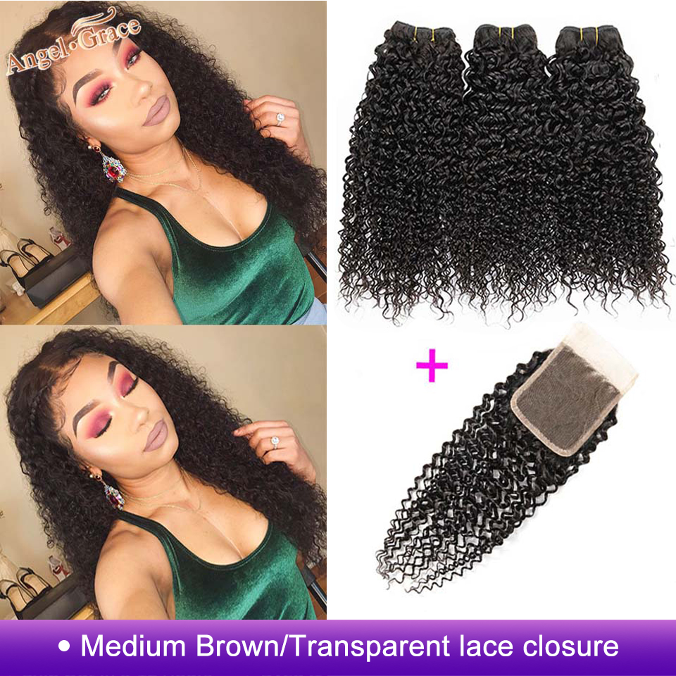 Brazilian Kinky Curly Hair Bundles With Closure Angel Grace Hair Weave 3 Bundles With Closure Remy