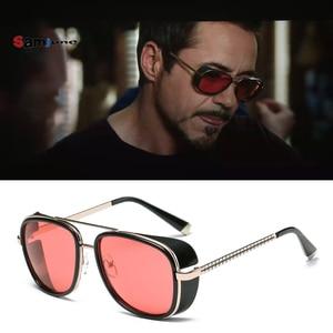 Samjune الحديد رجل 3 ماتسودا توني ستارك النظارات الشمسية الرجال طلاء روسي الرجعية خمر مصمم نظارات شمسية Oculos Masculino Gafas دي