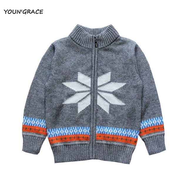 2015 New England Style Boys Winter Snowflake Pattern Wool Knitted Sweater Brand Baby Boys Striped Zipper Knitted Sweater ,YC188