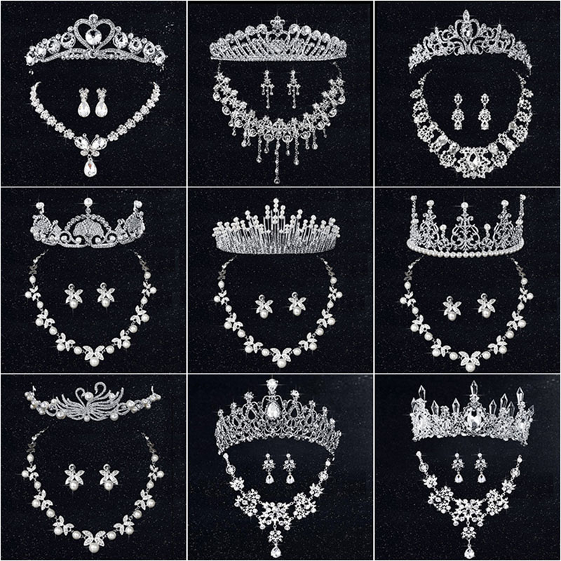 HOT Conjuntos de Jóias Colar Brincos Nupcial Tiara Tiaras de Casamento de Strass Acessórios Do Cabelo Do Casamento de Cristal Pérola Da Noiva 3 pcs Set