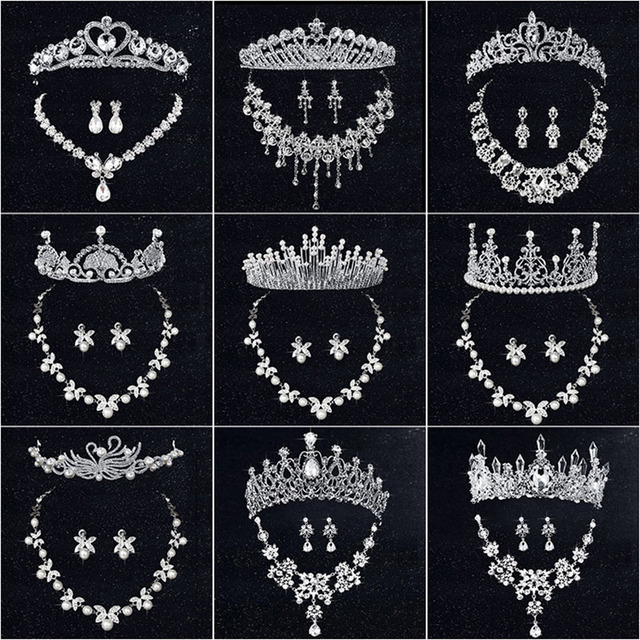 HOT Wedding Tiara Necklace Earrings Bridal Tiaras Jewelry Sets
