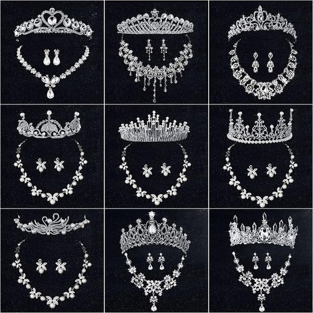 HOT Wedding Tiara Necklace Earrings Bridal Tiaras Jewelry Sets
