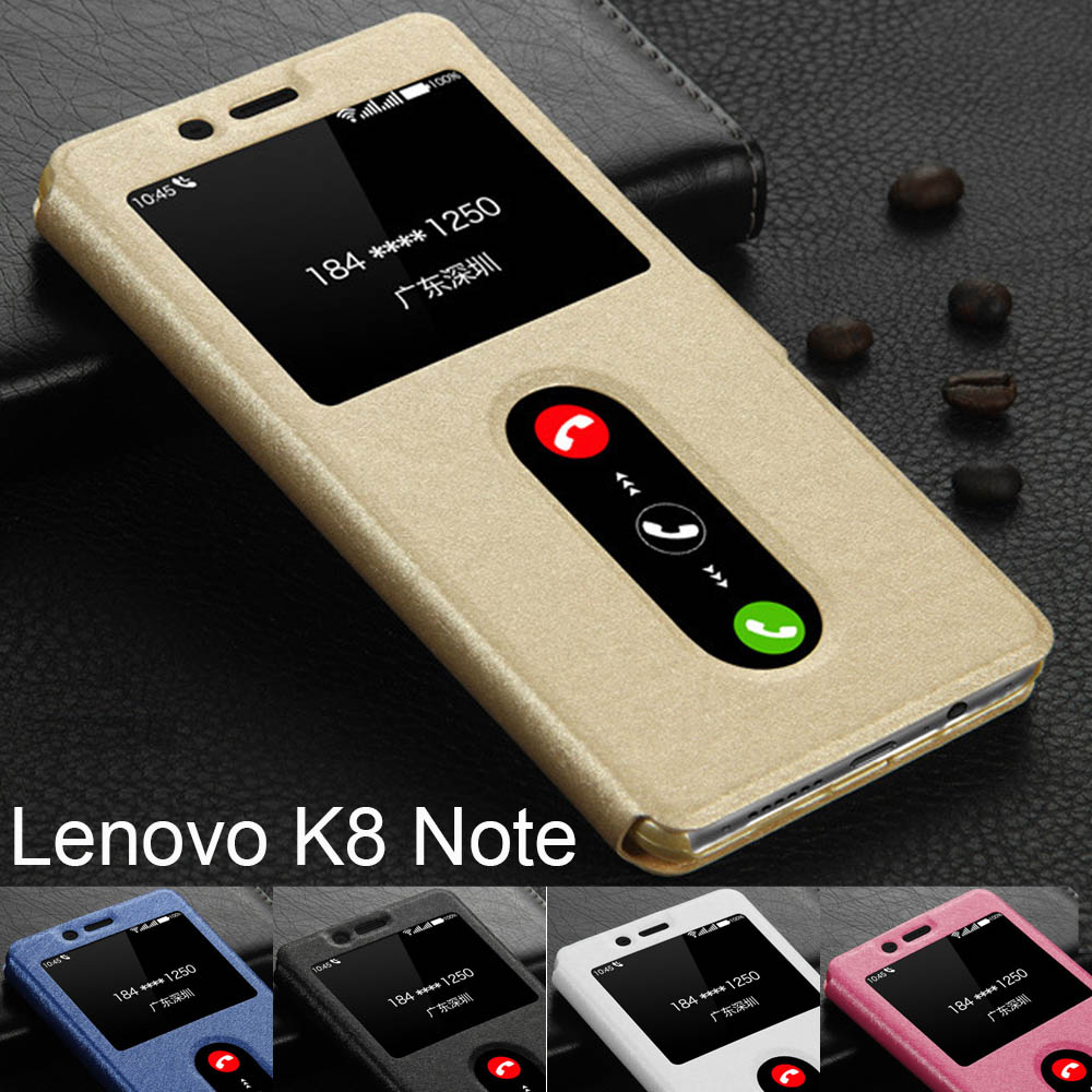 US $3 59 10% OFF Lenovo K8 Note case window view pu leather pc hard case  stand fundas Lenovo K8 Note flip cover Lenovo K8 note phone cases coque-in