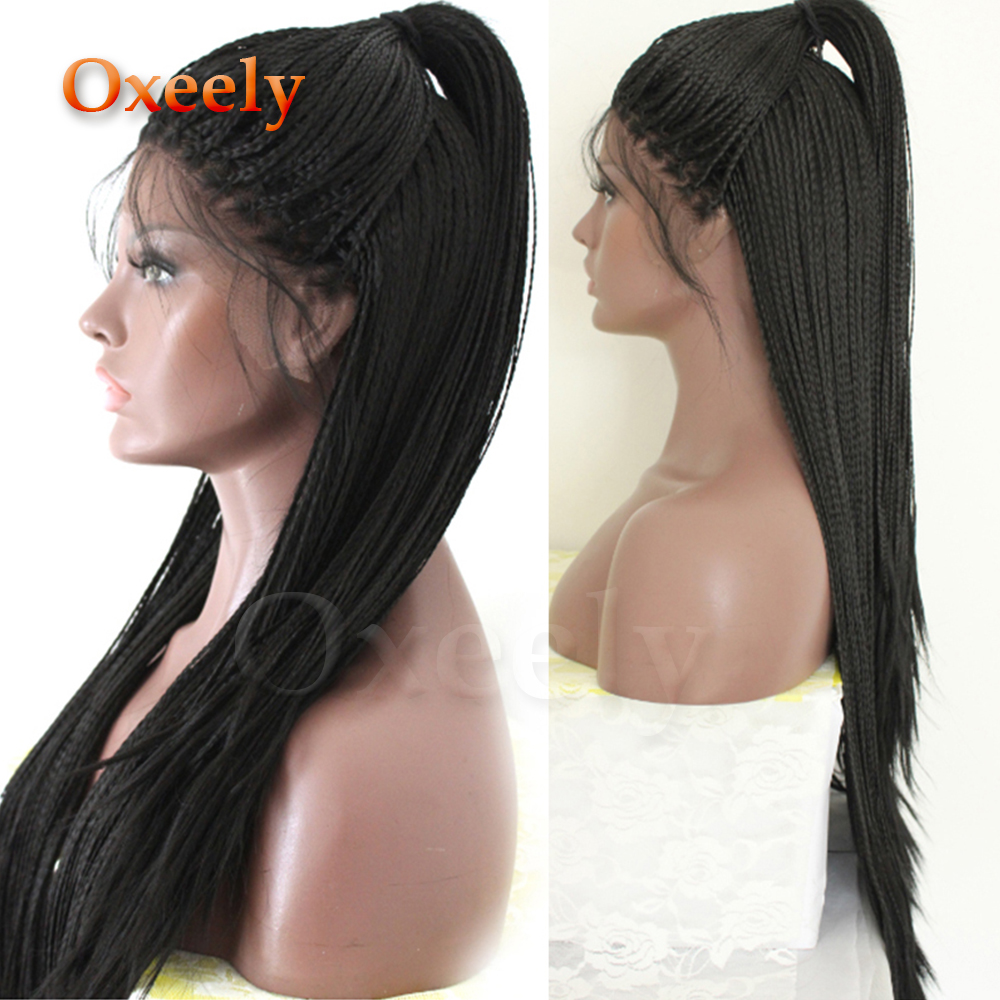 Oxeely Long Braided Hair Synthetic Lace Front Wigs Black Color Micro Braids With Baby Hair Free Part Heat Resistant For Women(China)