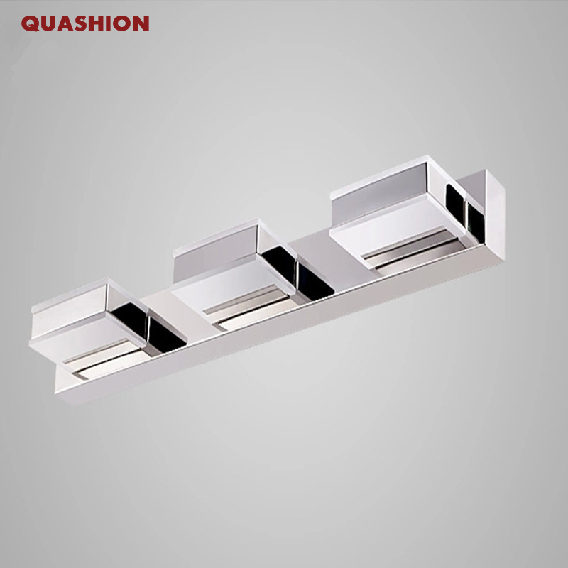6W/9W High-grade stainless steel and acrylic 2/3 heads led mirror light 90-265V bathroom mirror cabinet wall lamp bedroom sconce