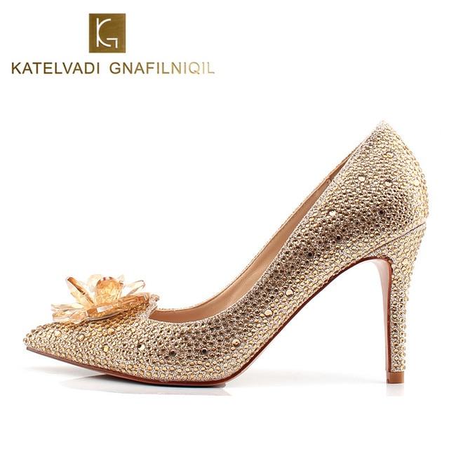 95CM High Heels Shoes Women Luxury Crystal Wedding Champagne Pumps Rhinestones Bridal