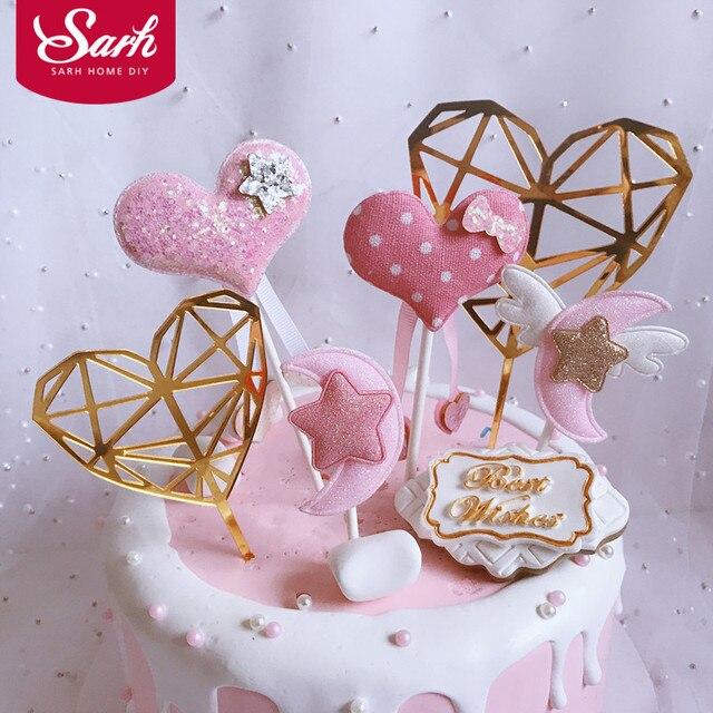 3 unids/set acrílico tamaño diamante Rosa amor Luna estrella colecciones pastel Topper para decoración de fiesta postre encantadores regalos