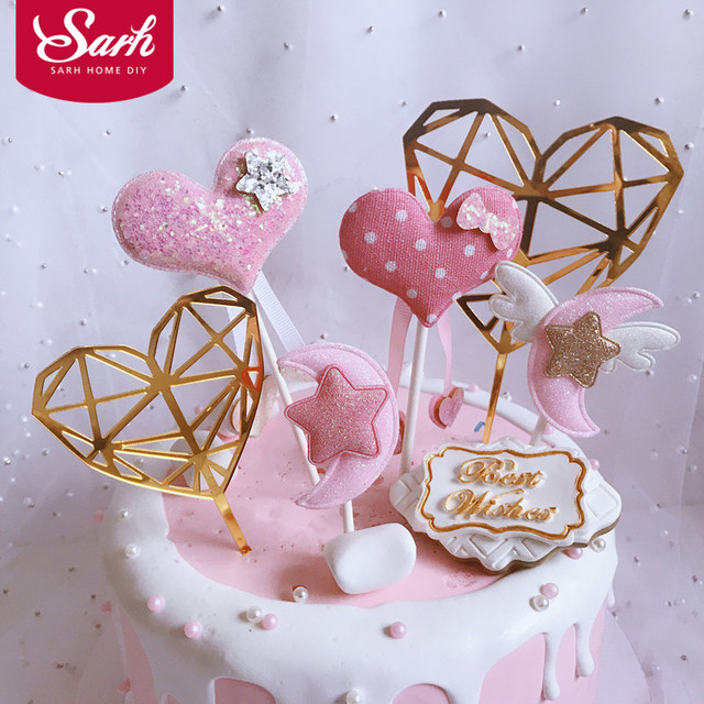3Pcs/Set Acrylic Size Diamond Pink Love Moon Star Collections Cake Topper for Party Decoration Dessert lovely Gifts