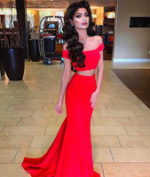 Sexy Red Two Piece Prom Dress Crop Top Off The Shoulder Mermaid Sweep Train Long Evening Gowns Simple Turkey Graduation Dress