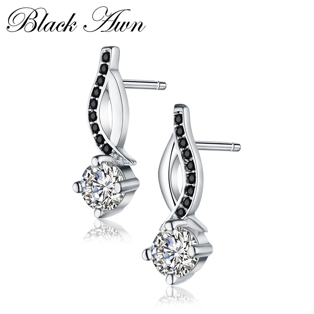 Genuine 925 Sterling Silver Jewelry Black White Stone Engagement Stud Earrings for Women T014 in Earrings from Jewelry Accessories