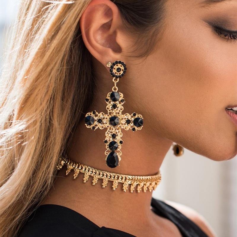JURAN Women Fashion Vintage Crystal Gold Cross Earring Sweet Metal With Gems Dangle Earrings For Women Accessories Brincos
