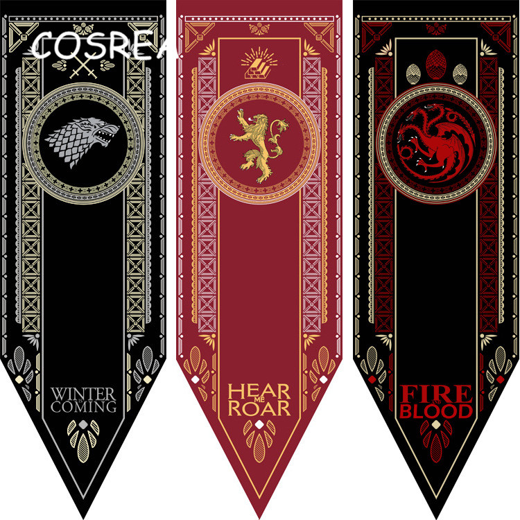 Game of Thrones Banner Families Flag 48*150 CM Home Decor Prop Wolf Dragon Baratheon & Martell & Bolton Boys Girls Kid Christmas