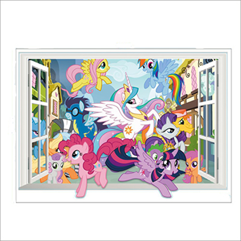 3dcute Cartoon My Little Pony Gift Window Wall Stickers Forkids Room Removable Children Bedroom Decor Vinyl