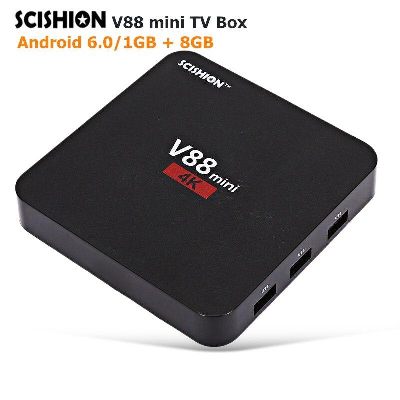 Originale SCISHION V88 Mini Smart TV Box RK3229 4 Core 4 K 1 GB di RAM 8 GB di ROM Set- top Box RK3229 H.265 32 Bit Android 6.0 Set Top BoxOriginale SCISHION V88 Mini Smart TV Box RK3229 4 Core 4 K 1 GB di RAM 8 GB di ROM Set- top Box RK3229 H.265 32 Bit Android 6.0 Set Top Box