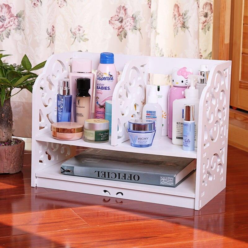 Wood Shelf Cosmetic Box Storage Box Simple And Small Shelf Office Desktop Documents Sorting Box